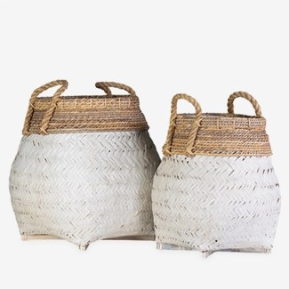 Nile Woven Baskets- Set of 2 - White