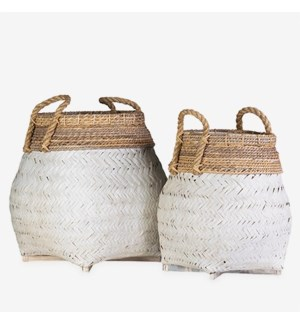 Nile Woven Baskets- Set of 2 - White (2 boxes per item)
