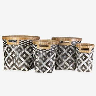 Patterned Woven Containers - Set of 4 - Brown & White