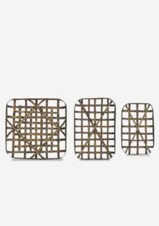Decorative Tobacco basket Set of 3 - Antique Brown (20x12.5x3/24x16.5x3/24x24x3)