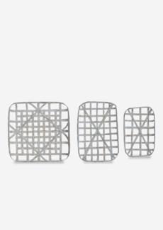 Decorative Tobacco basket Set of 3 - Aged White (20x12.5x3/24x16.5x3/24x24x3)