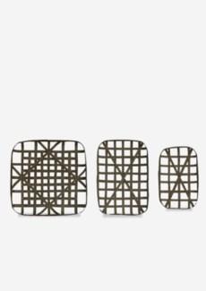 (LS) Decorative Tobacco basket Set of 3 - Smoke Grey (20x12.5x3/24x16.5x3/24x24x3)