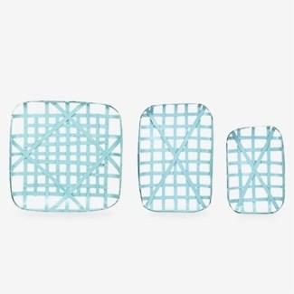 Decorative Tobacco basket Set of 3 - Sky Blue (20x12.5x3/24x16.5x3/24x24x3)