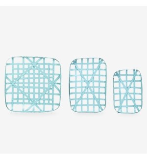 (LS) Decorative Tobacco basket Set of 3 - Sky Blue (20x12.5x3/24x16.5x3/24x24x3)