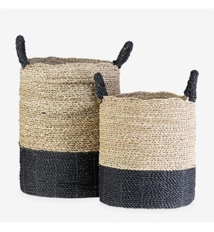 Woven Stripes Basket - Set of 2 - Black & Brown