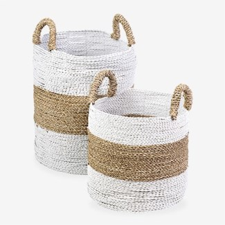 Woven Stripes Basket - Set of 2 - White & Black