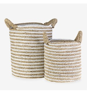 Woven Stripes Basket - Set of 2 - White & Brown