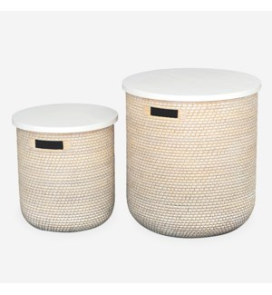 Sedona Accent Table Baskets with Storage, Rattan/MDF in White Wash, set/2