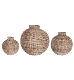 Maris Round Woven Vases, Set of 3