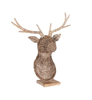 Woven Deer Head with Stand, Natural