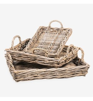 Mona Rectangular Rattan Tray Set of 3