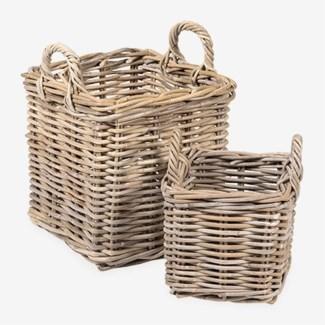 Mona Square Rattan Basket Set of 2 - S/M