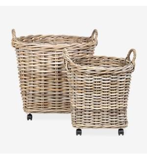 Mona Round Rattan Storage Baskets with Wheels - Set of 2..