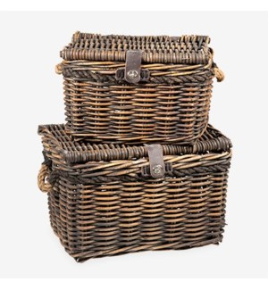 Melbourne Rattan Basket with Rope Handle, Set of 2 - Brown