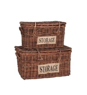 Bocita Lidded Rattan Baskets Set of 2, Antique Brown