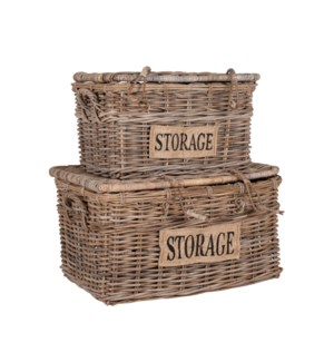 Bocita Lidded Rattan Baskets Set of 2, Natural