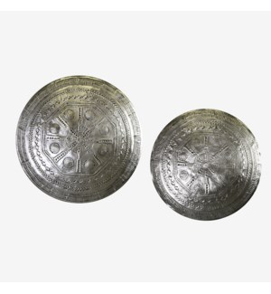 "Metal Wall Decor with geometric design(set/2)-20""/20""- Antique Pewter"