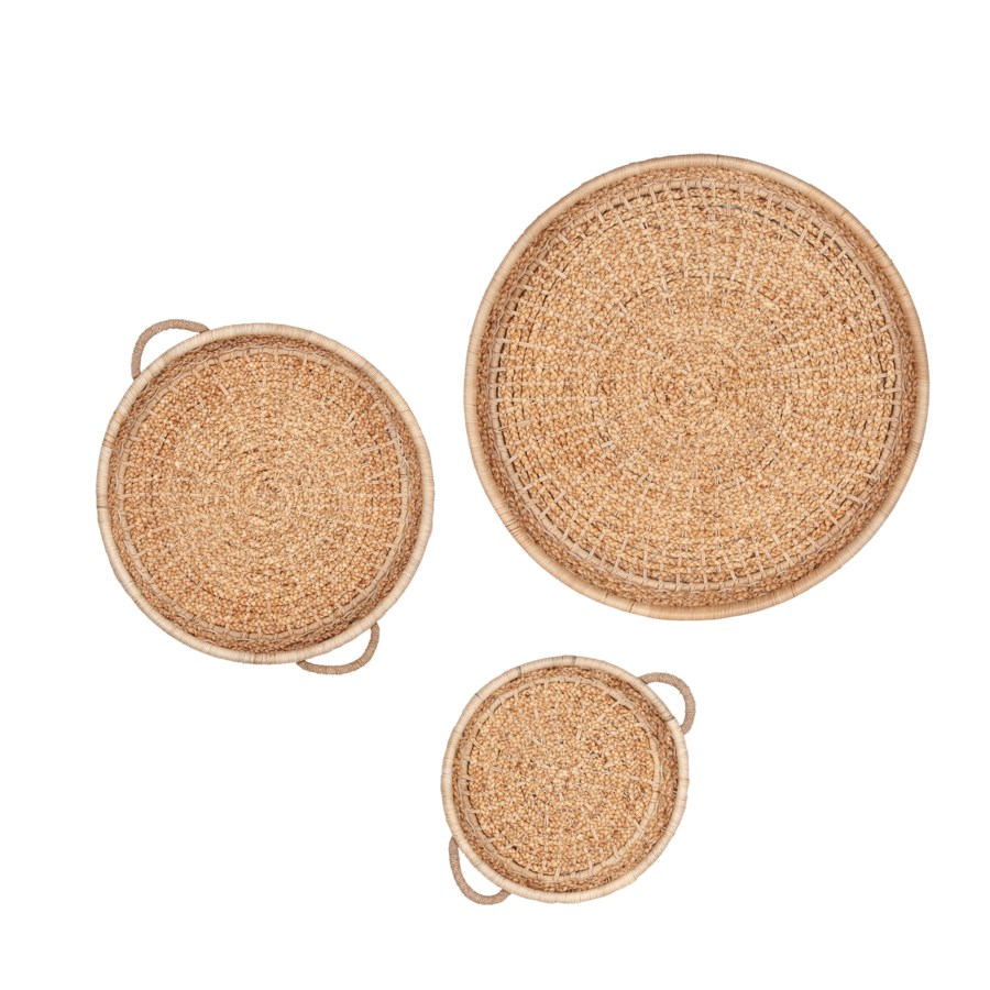Gaia Round Woven Wall Baskets, Natural - Set of 3