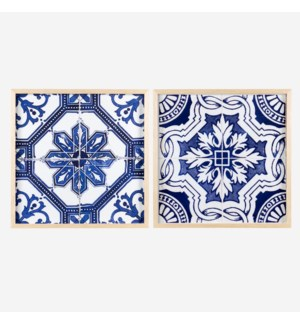 "* Portuguese Tiles Wall print shadowbox Set/2, 24"" Square"