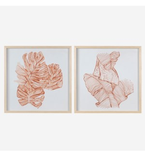 * Leaf Sketches Wall print shadowbox Set/2, 24x24
