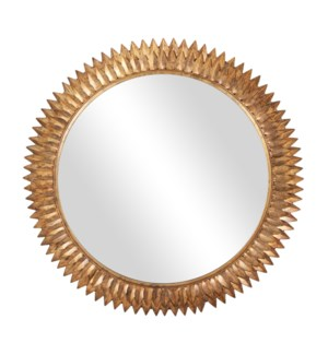 "Bellamy 38"" Round Mirror, Antique Brass"