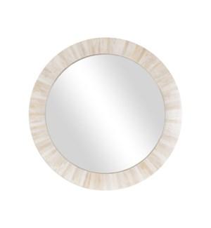 Amalia Round Mirror, White Bone (33x4.5x33.5)