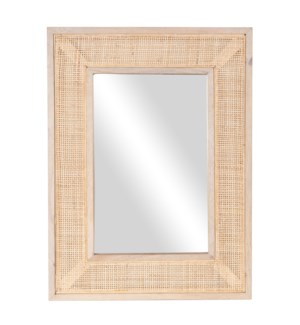 Everly Rectangular Mirror, Wood/Cane