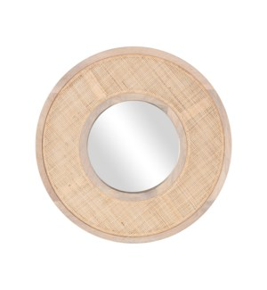 "Everly 24"" Round Mirror, Wood/Cane"