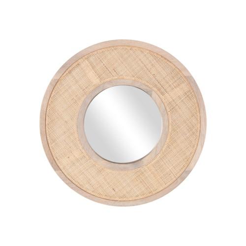 "Everly 24"" Round Mirror, Wood/Cane"