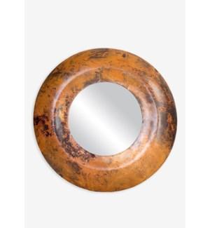 (LS) Burnt Copper Finished Metal Convex Mirror (27.5x27.5x1.75)