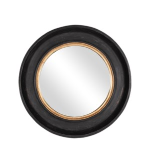 "Winchester 35"" Round Wooden Mirror, Aged Black and Gold"