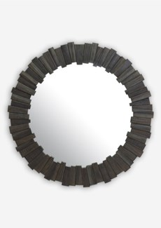 "(LS) 43"" Pinwheel Wood Mirror In Grey Wash..(43x1.5x43).."