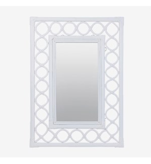 (LS) Savannah Rectangular Mirror - White (26x2x36)