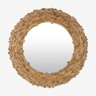 "35"" Knotted Natural Fiber Round Mirror(35x2x35)"