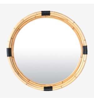 "35"" Marina Round Rattan Mirror, Natural"
