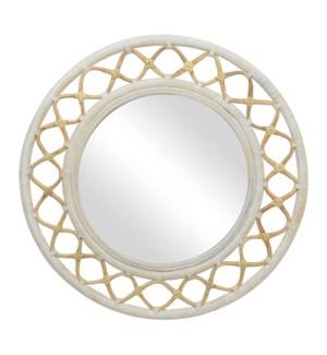 "Cressida 35"" Round Mirror, Natural/Aged White"