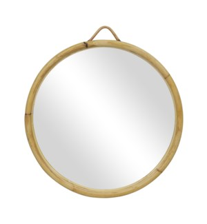 "Calise 29"" Round Rattan Mirror, Natural"