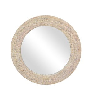 "Blanche 35"" Round Woven Seagrass Mirror, White Wash"