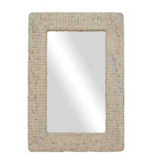 Blanche Rectangular Woven Seagrass Mirror, White Wash