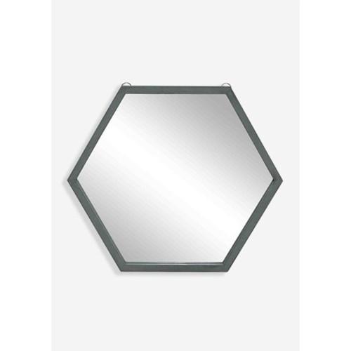 (LS) Zoe Hexagon Mirror - Gray