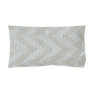 "Pillow 21"" X 13"" - Chunky dori tonal herringbone - Cream/Cream (feather/down inserts)"