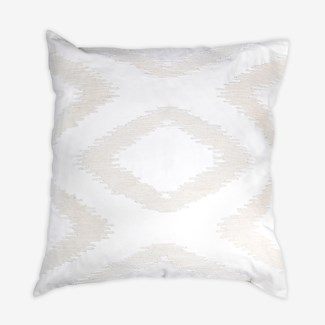 "Pillow 22"" X 22"" - Chunky dori tonal diamond - Cream/Cream (feather/down inserts)"