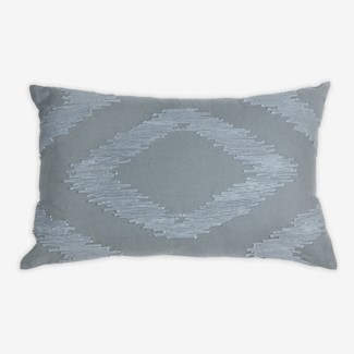 "Pillow 21"" X 13"" - Chunky dori tonal diamond - Graphite (feather/down inserts)"