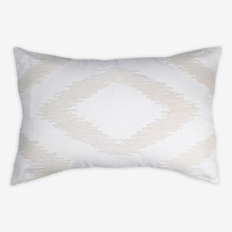 "Pillow 21"" X 13"" - Chunky dori tonal diamond - Cream/Cream (feather/down inserts)"