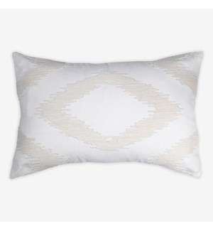 "(LS) Cadence Tonal Diamond Lumbar Pillow (21"" x 13"") - Oatmeal"