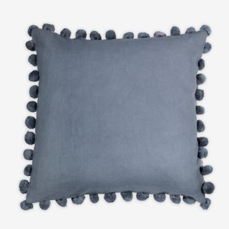 "Pillow 22"" x 22"" - Med size pompom fringe texture slub - Graphite (feather/down inserts)"