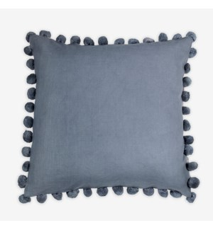 "(LS)  Alma Pom Pom Square Pillow (22"" x 22"") - Graphite"