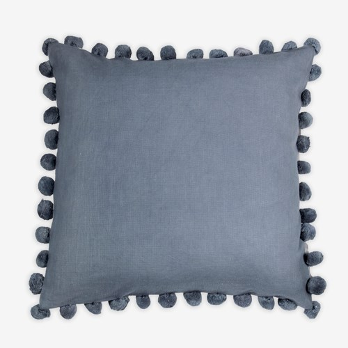 "Alma Pom Pom Square Pillow (22"" x 22"") - Graphite"