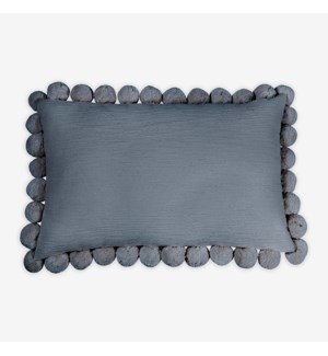 "(LS) Alma Pom Pom Lumbar Pillow (21"" X 13"") -  Graphite"