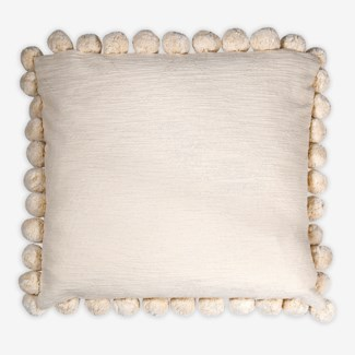 "Pillow 22"" X 22"" - Large size pompom fringe texture nubby slub - Oatmeal (feather/down inserts)"